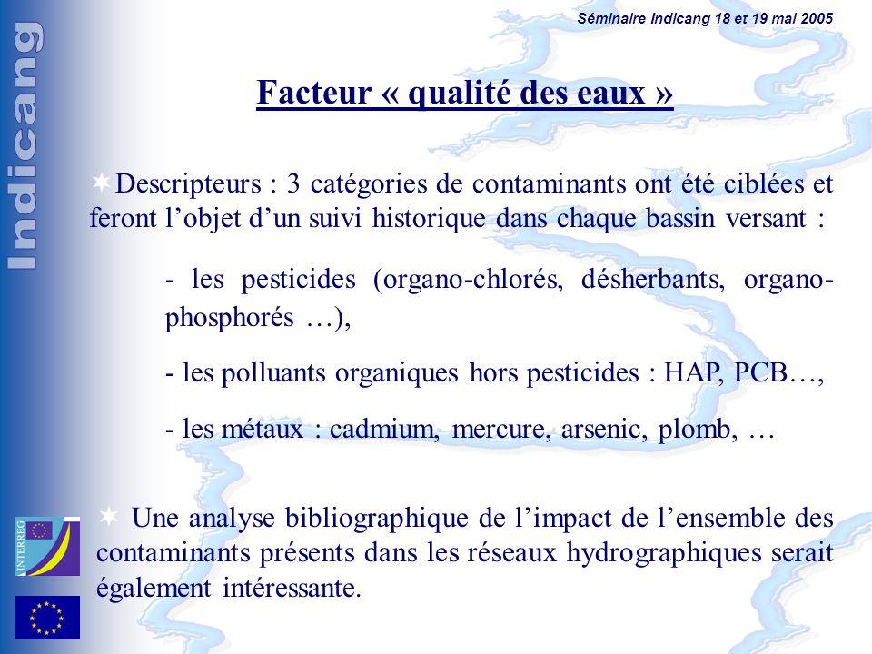 Séminaire Indicang 18 et 19 mai 2005 Facteur « qualité des eaux » Descripteurs : 3 catégories de contaminants ont été ciblées et feront lobjet dun sui