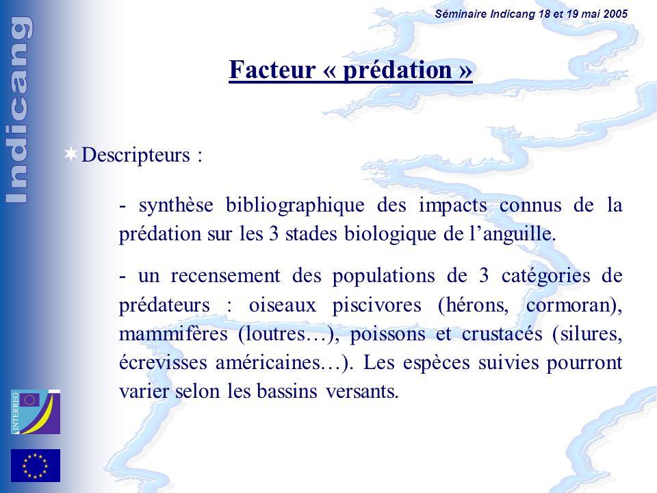 Séminaire Indicang 18 et 19 mai 2005 Facteur « prédation » Descripteurs : - synthèse bibliographique des impacts connus de la prédation sur les 3 stad