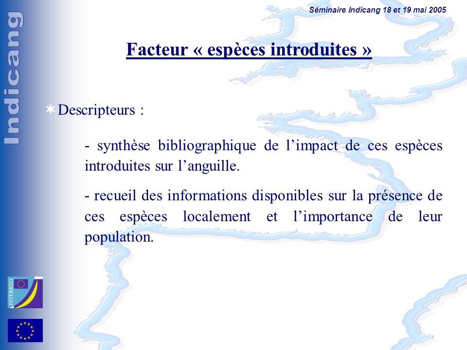 Séminaire Indicang 18 et 19 mai 2005 Facteur « espèces introduites » Descripteurs : - synthèse bibliographique de limpact de ces espèces introduites sur languille.