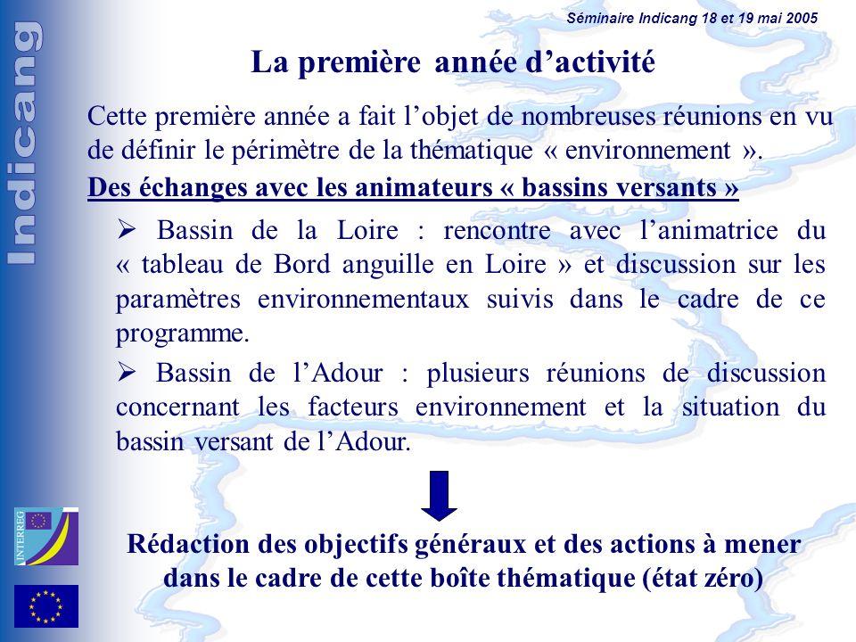 Séminaire Indicang 18 et 19 mai 2005 Cette première année a fait lobjet de nombreuses réunions en vu de définir le périmètre de la thématique « environnement ».