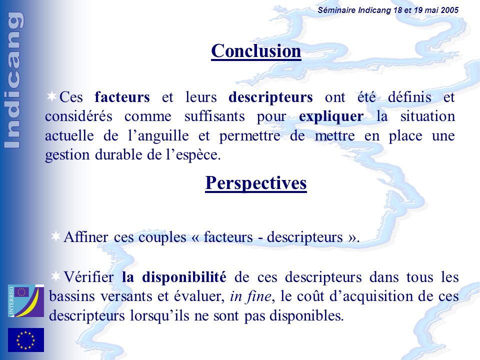 Séminaire Indicang 18 et 19 mai 2005 Conclusion Ces facteurs et leurs descripteurs ont été définis et considérés comme suffisants pour expliquer la situation actuelle de languille et permettre de mettre en place une gestion durable de lespèce.