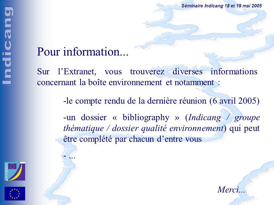 Séminaire Indicang 18 et 19 mai 2005 Pour information... Sur lExtranet, vous trouverez diverses informations concernant la boîte environnement et nota