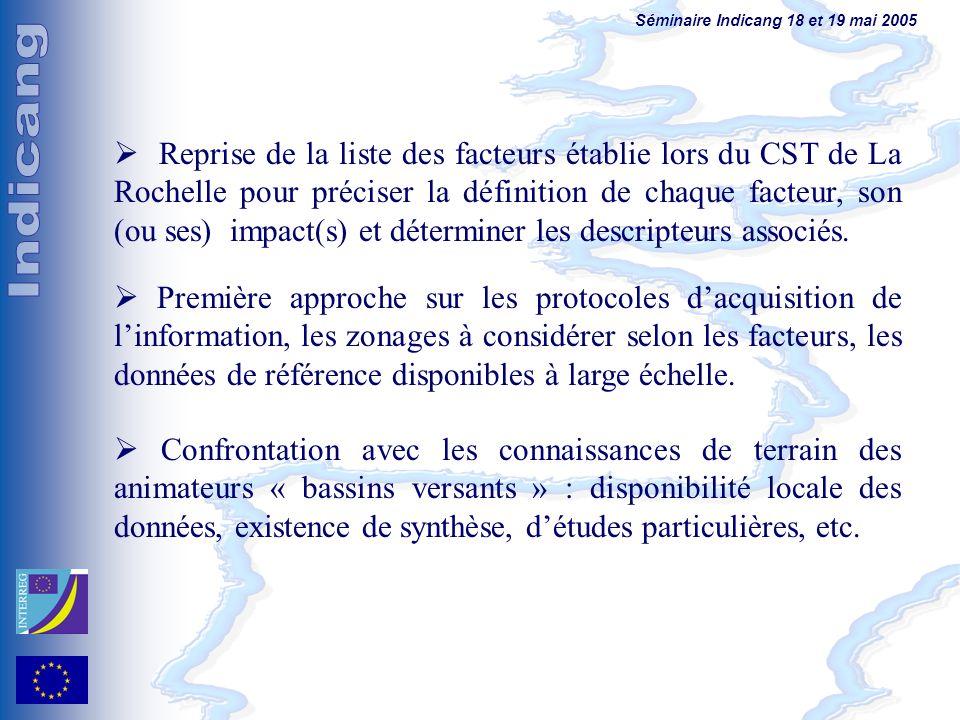 Séminaire Indicang 18 et 19 mai 2005 Reprise de la liste des facteurs établie lors du CST de La Rochelle pour préciser la définition de chaque facteur, son (ou ses) impact(s) et déterminer les descripteurs associés.