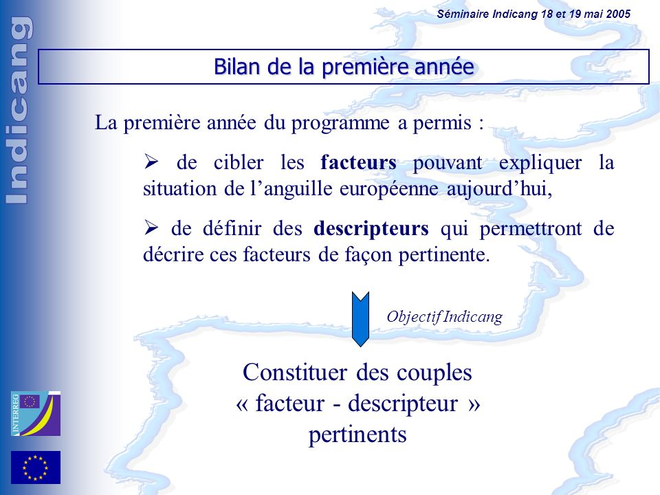 Séminaire Indicang 18 et 19 mai 2005 La première année du programme a permis : de cibler les facteurs pouvant expliquer la situation de languille européenne aujourdhui, de définir des descripteurs qui permettront de décrire ces facteurs de façon pertinente.