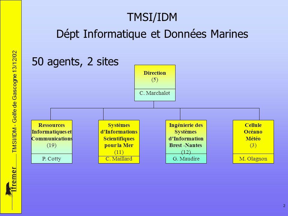 TMSI/IDM - Golfe de Gascogne 13/12/02 2 TMSI/IDM Dépt Informatique et Données Marines 50 agents, 2 sites Direction (5) C. Marchalot Ressources Informa