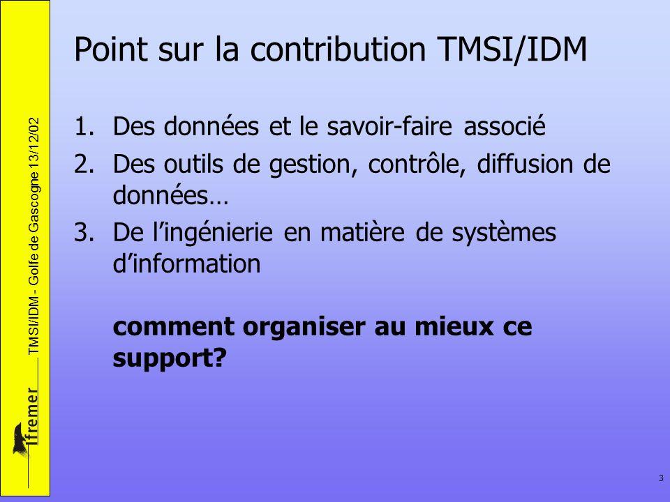 TMSI/IDM - Golfe de Gascogne 13/12/02 3 Point sur la contribution TMSI/IDM 1.Des données et le savoir-faire associé 2.Des outils de gestion, contrôle,