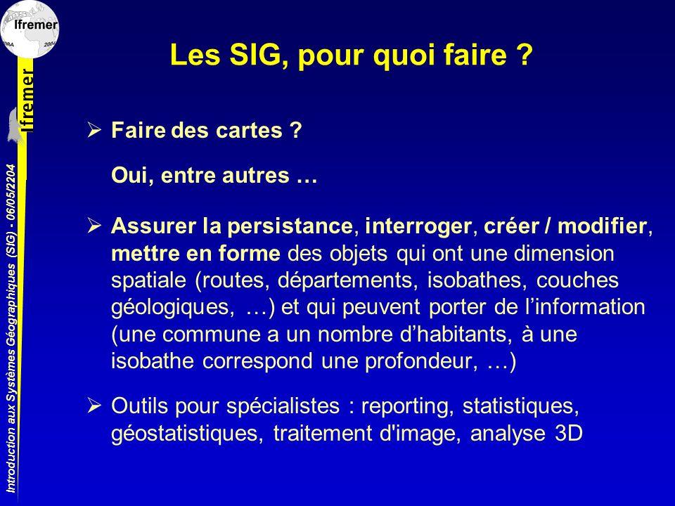 Introduction aux Systèmes Géographiques (SIG) - 06/05/2204 Les SIG, pour quoi faire ? Assurer la persistance, interroger, créer / modifier, mettre en