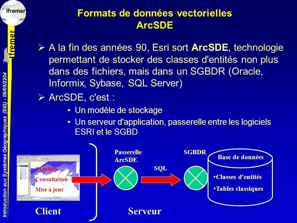 Introduction aux Systèmes Géographiques (SIG) - 06/05/2204 Formats de données vectorielles ArcSDE A la fin des années 90, Esri sort ArcSDE, technologi