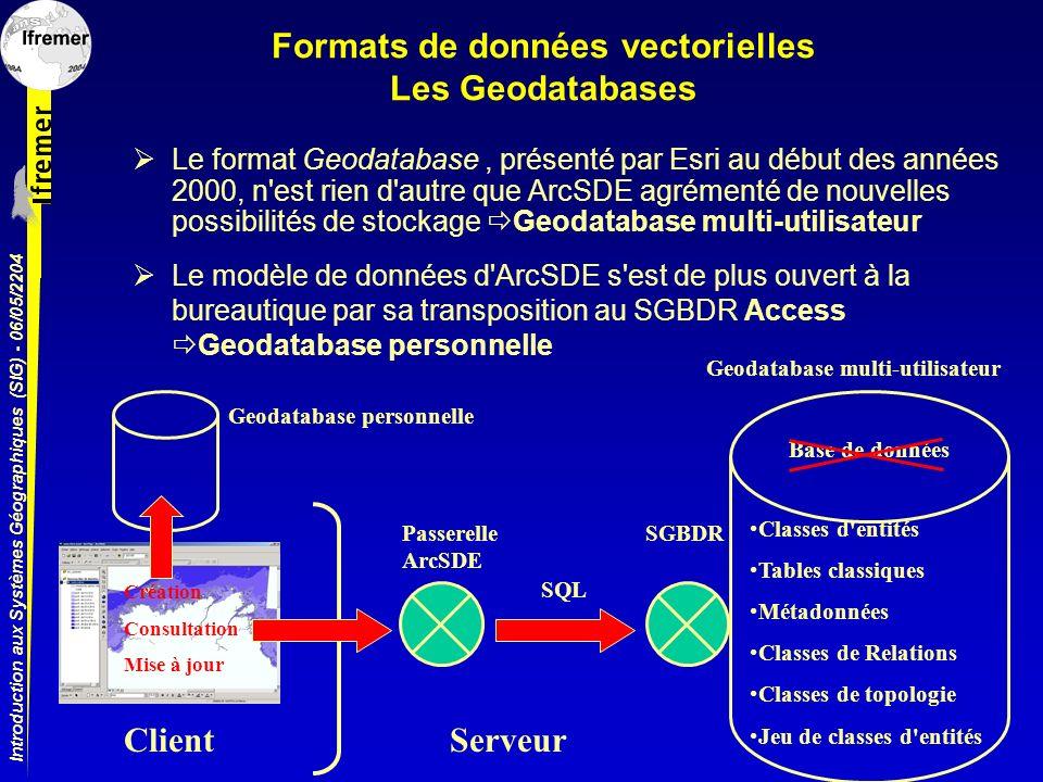 Introduction aux Systèmes Géographiques (SIG) - 06/05/2204 Formats de données vectorielles Les Geodatabases Le format Geodatabase, présenté par Esri a
