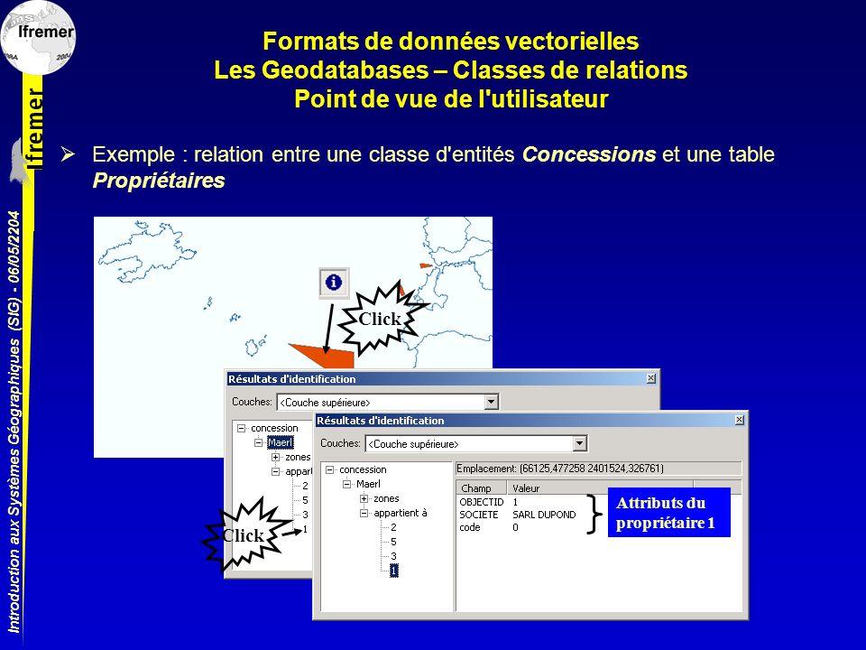 Introduction aux Systèmes Géographiques (SIG) - 06/05/2204 Formats de données vectorielles Les Geodatabases – Classes de relations Point de vue de l'u