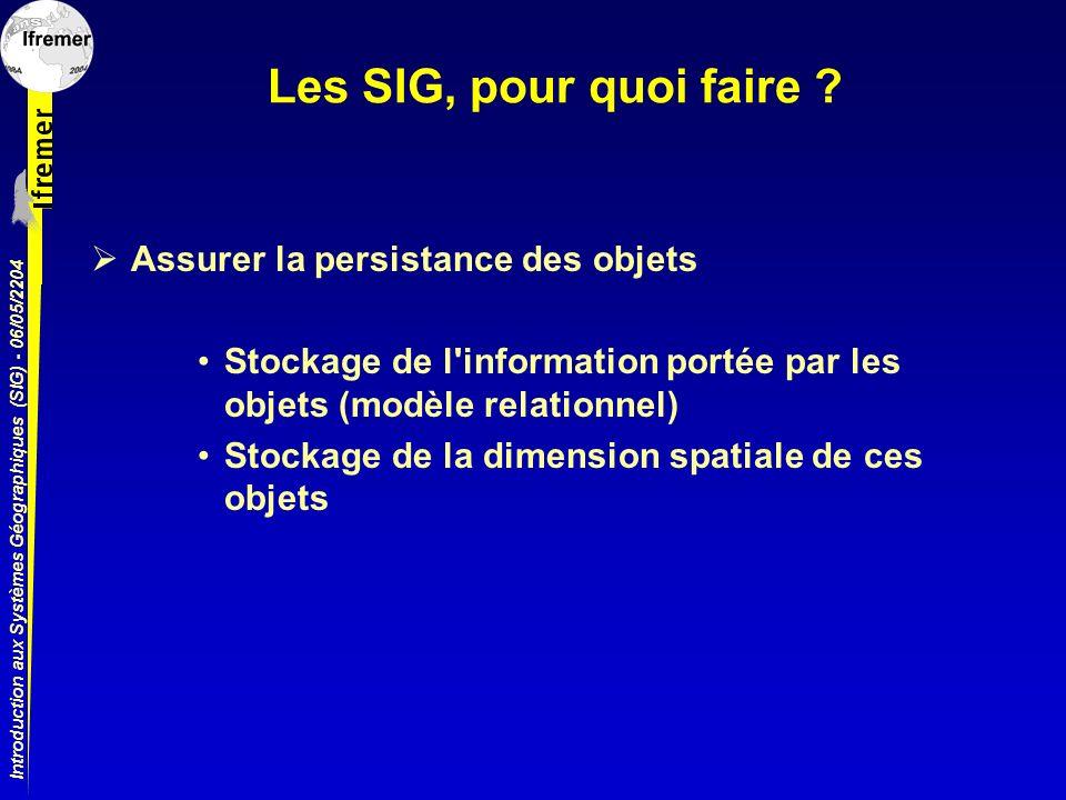 Introduction aux Systèmes Géographiques (SIG) - 06/05/2204 Les SIG, pour quoi faire ? Assurer la persistance des objets Stockage de l'information port