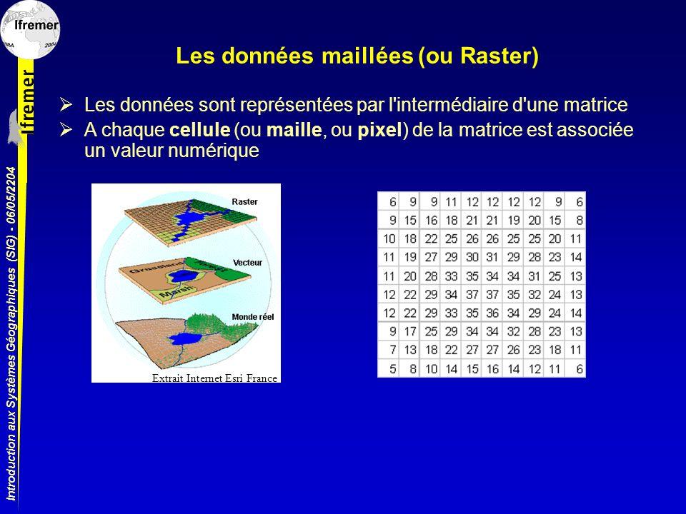 Introduction aux Systèmes Géographiques (SIG) - 06/05/2204 Les données maillées (ou Raster) Les données sont représentées par l'intermédiaire d'une ma