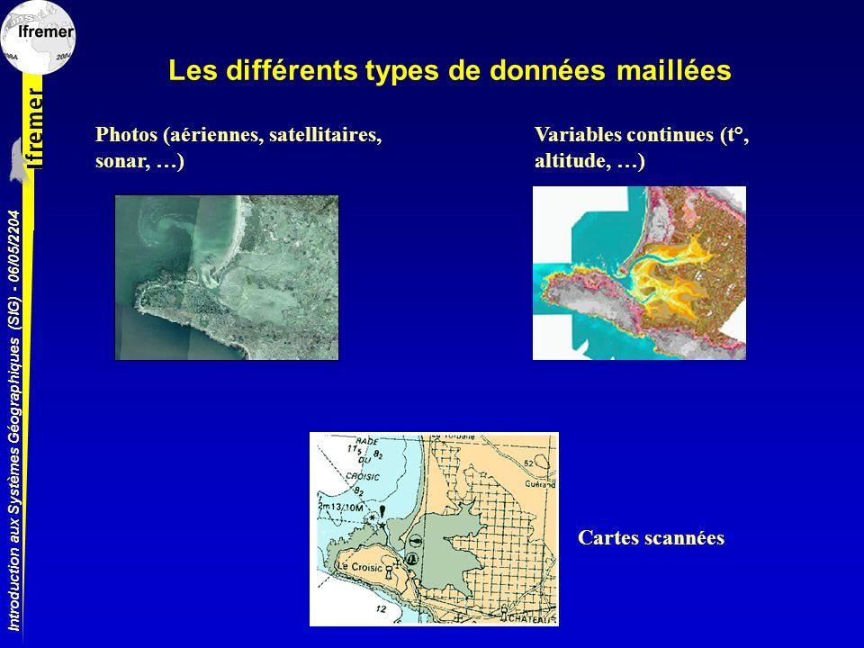 Introduction aux Systèmes Géographiques (SIG) - 06/05/2204 Les différents types de données maillées Photos (aériennes, satellitaires, sonar, …) Variab