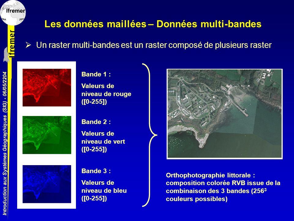 Introduction aux Systèmes Géographiques (SIG) - 06/05/2204 Les données maillées – Données multi-bandes Un raster multi-bandes est un raster composé de