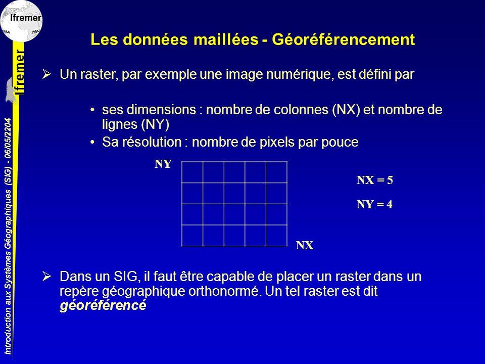 Introduction aux Systèmes Géographiques (SIG) - 06/05/2204 Les données maillées - Géoréférencement Un raster, par exemple une image numérique, est déf
