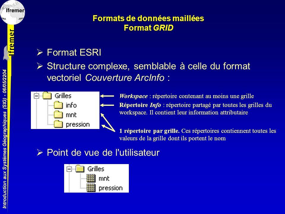 Introduction aux Systèmes Géographiques (SIG) - 06/05/2204 Formats de données maillées Format GRID Format ESRI Structure complexe, semblable à celle d