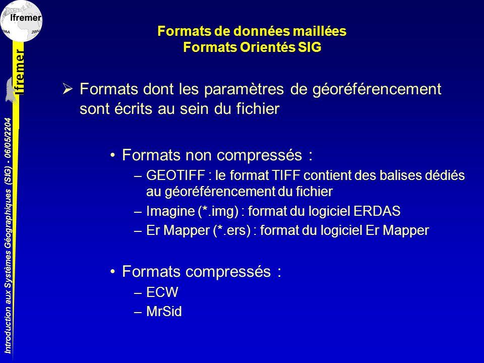 Introduction aux Systèmes Géographiques (SIG) - 06/05/2204 Formats de données maillées Formats Orientés SIG Formats dont les paramètres de géoréférenc