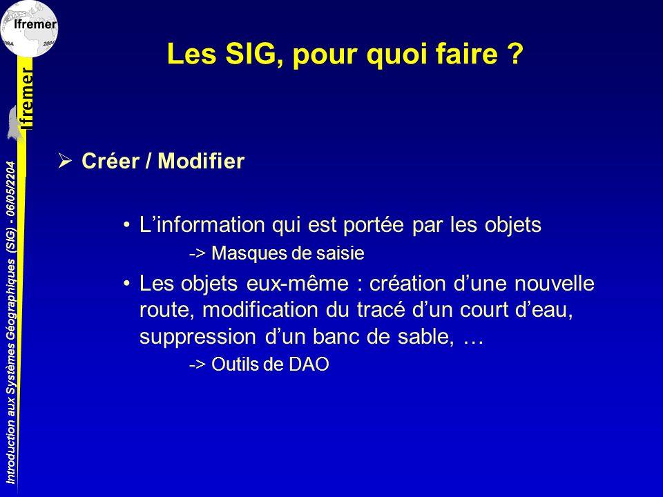 Introduction aux Systèmes Géographiques (SIG) - 06/05/2204 Les SIG, pour quoi faire ? Créer / Modifier Linformation qui est portée par les objets -> M