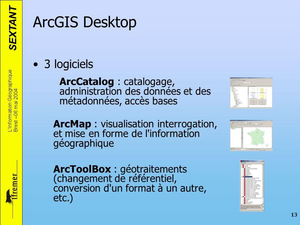 SEXTANT LInformation Géographique Brest –06 mai 2004 13 ArcGIS Desktop 3 logiciels ArcCatalog : catalogage, administration des données et des métadonn