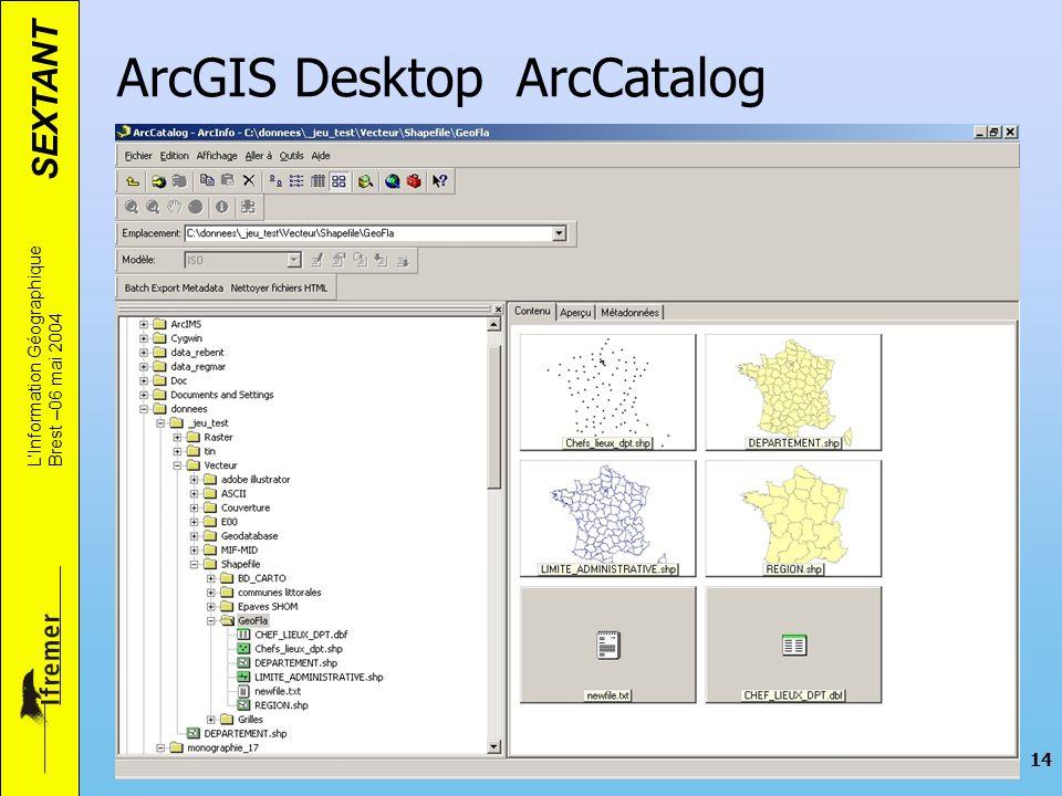 SEXTANT LInformation Géographique Brest –06 mai 2004 14 ArcGIS Desktop ArcCatalog