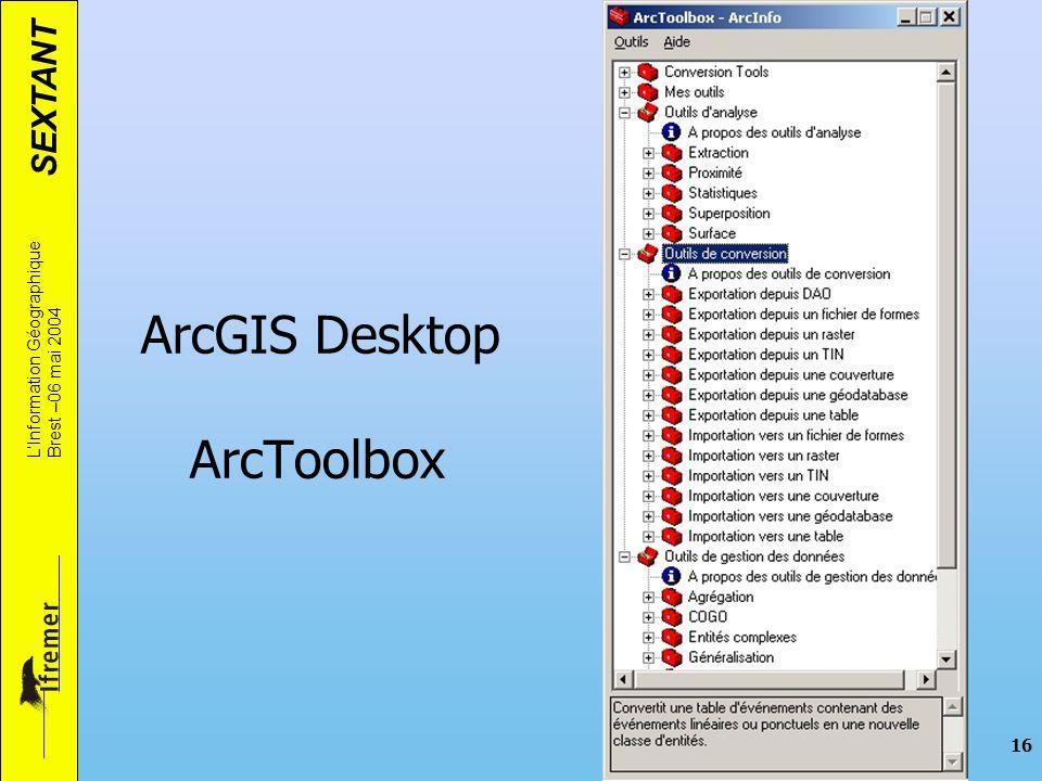 SEXTANT LInformation Géographique Brest –06 mai 2004 16 ArcGIS Desktop ArcToolbox