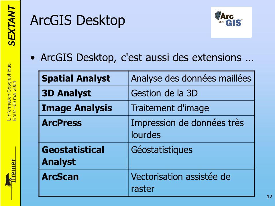 SEXTANT LInformation Géographique Brest –06 mai 2004 17 ArcGIS Desktop ArcGIS Desktop, c'est aussi des extensions … Spatial AnalystAnalyse des données