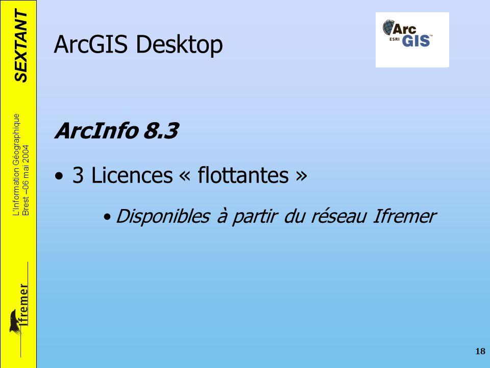 SEXTANT LInformation Géographique Brest –06 mai 2004 18 ArcGIS Desktop ArcInfo 8.3 3 Licences « flottantes » Disponibles à partir du réseau Ifremer