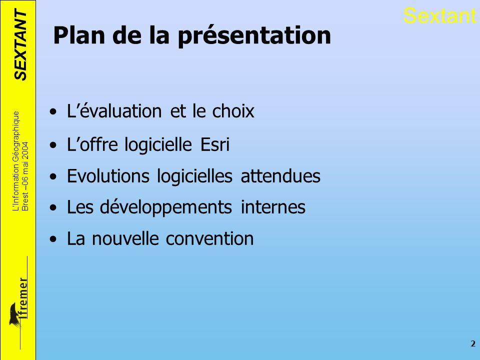 SEXTANT LInformation Géographique Brest –06 mai 2004 2 Plan de la présentation Lévaluation et le choix Loffre logicielle Esri Evolutions logicielles a