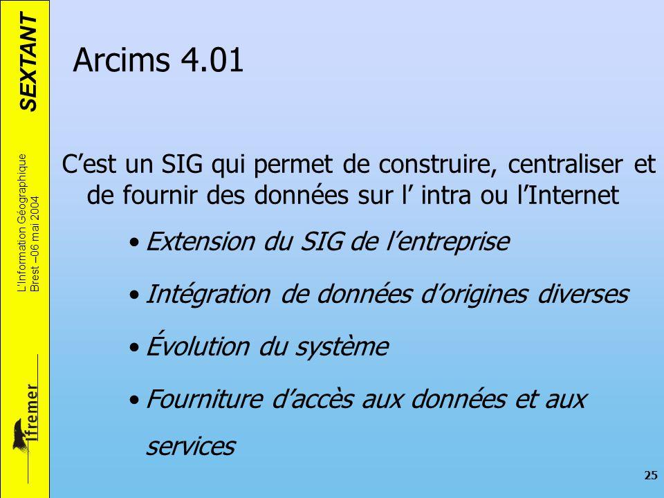 SEXTANT LInformation Géographique Brest –06 mai 2004 25 Cest un SIG qui permet de construire, centraliser et de fournir des données sur l intra ou lIn