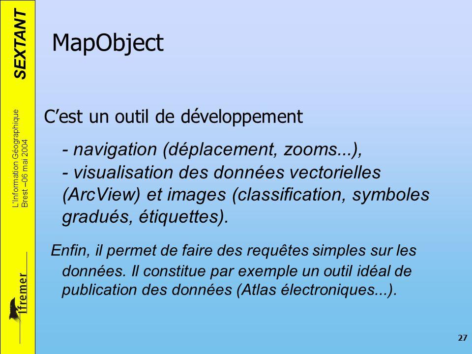 SEXTANT LInformation Géographique Brest –06 mai 2004 27 Cest un outil de développement - navigation (déplacement, zooms...), - visualisation des donné