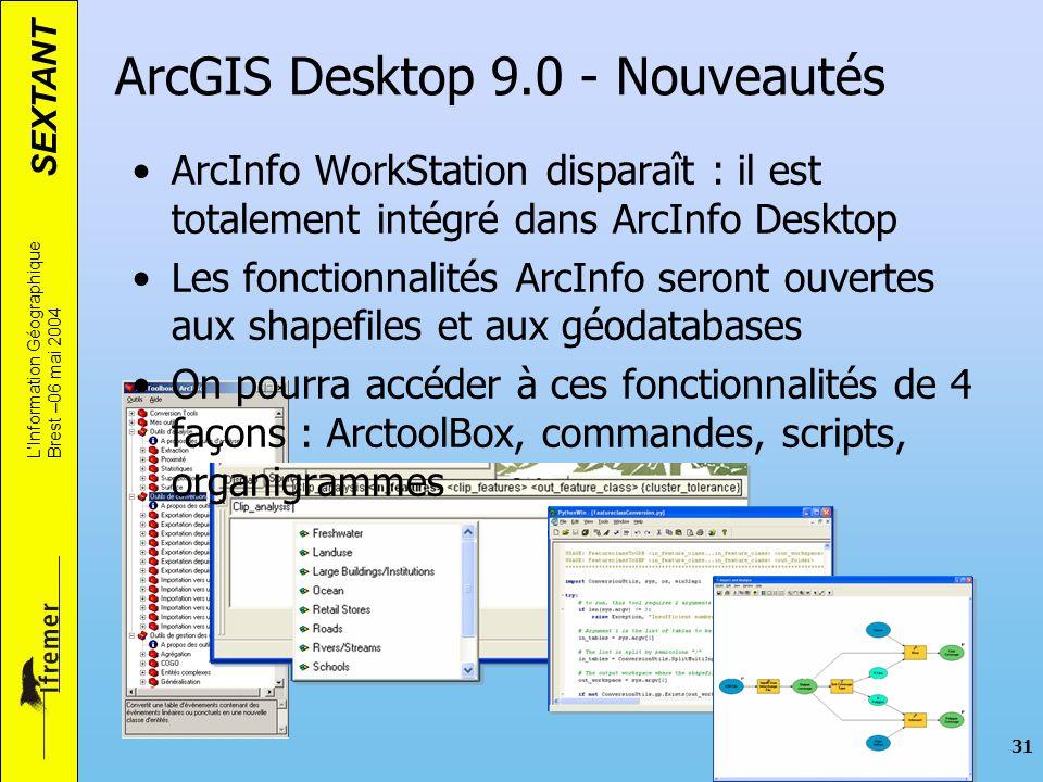 SEXTANT LInformation Géographique Brest –06 mai 2004 31 ArcGIS Desktop 9.0 - Nouveautés ArcInfo WorkStation disparaît : il est totalement intégré dans