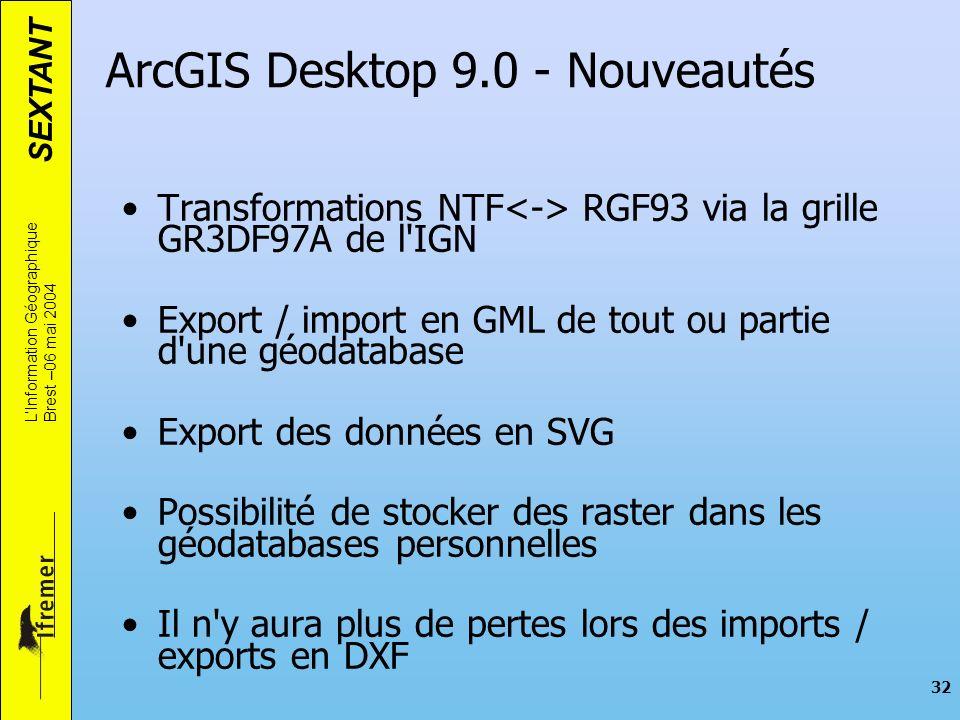 SEXTANT LInformation Géographique Brest –06 mai 2004 32 ArcGIS Desktop 9.0 - Nouveautés Transformations NTF RGF93 via la grille GR3DF97A de l'IGN Expo