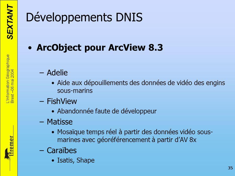 SEXTANT LInformation Géographique Brest –06 mai 2004 35 Développements DNIS ArcObject pour ArcView 8.3 –Adelie Aide aux dépouillements des données de