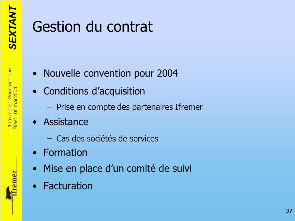 SEXTANT LInformation Géographique Brest –06 mai 2004 37 Nouvelle convention pour 2004 Conditions dacquisition –Prise en compte des partenaires Ifremer