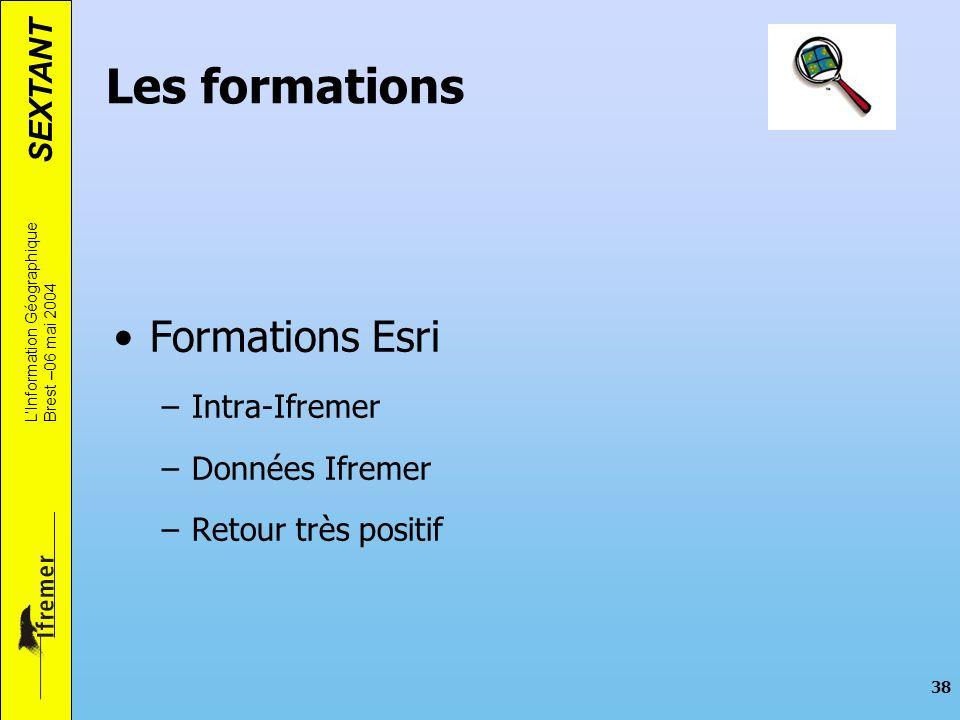 SEXTANT LInformation Géographique Brest –06 mai 2004 38 Les formations Formations Esri –Intra-Ifremer –Données Ifremer –Retour très positif