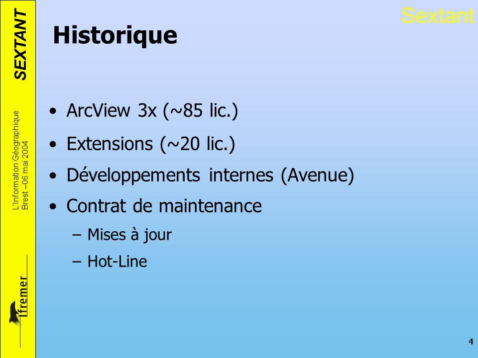 SEXTANT LInformation Géographique Brest –06 mai 2004 4 Historique ArcView 3x (~85 lic.) Extensions (~20 lic.) Développements internes (Avenue) Contrat