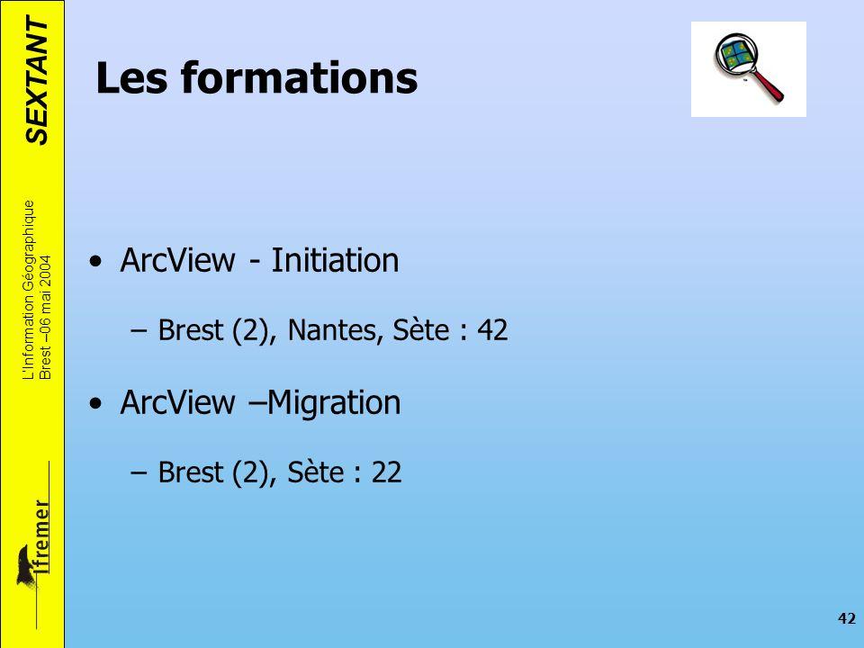 SEXTANT LInformation Géographique Brest –06 mai 2004 42 Les formations ArcView - Initiation –Brest (2), Nantes, Sète : 42 ArcView –Migration –Brest (2