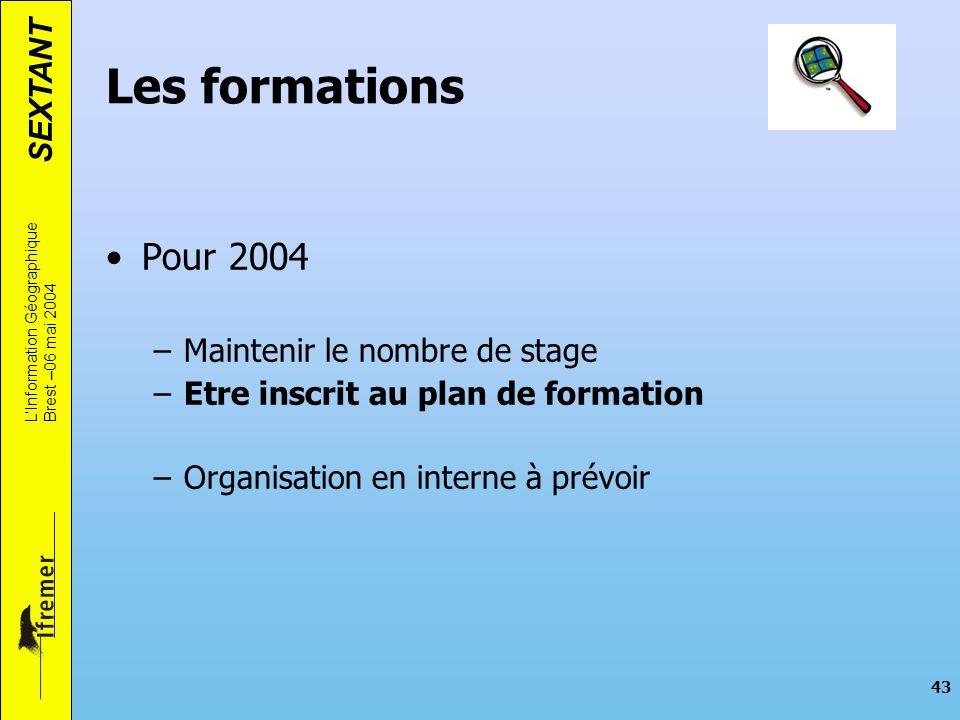 SEXTANT LInformation Géographique Brest –06 mai 2004 43 Les formations Pour 2004 –Maintenir le nombre de stage –Etre inscrit au plan de formation –Org