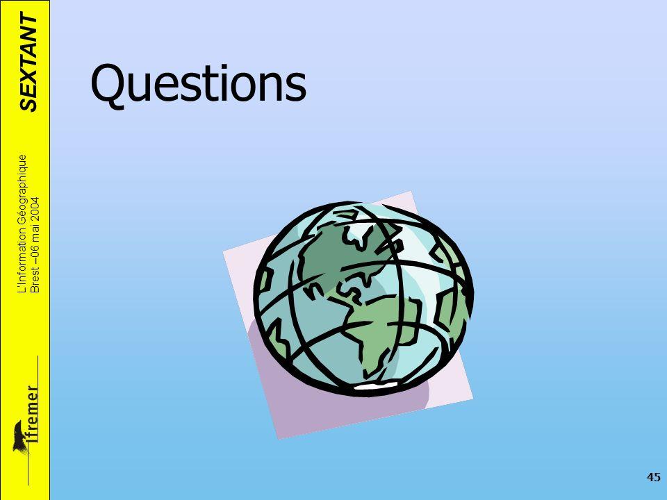 SEXTANT LInformation Géographique Brest –06 mai 2004 45 Questions