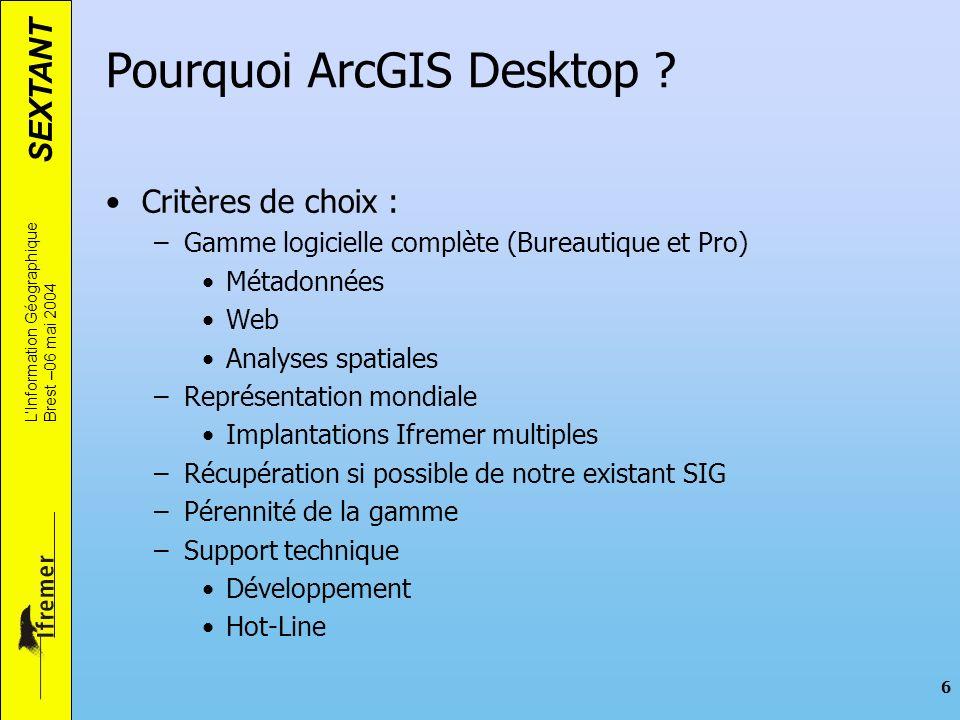 SEXTANT LInformation Géographique Brest –06 mai 2004 6 Pourquoi ArcGIS Desktop ? Critères de choix : –Gamme logicielle complète (Bureautique et Pro) M