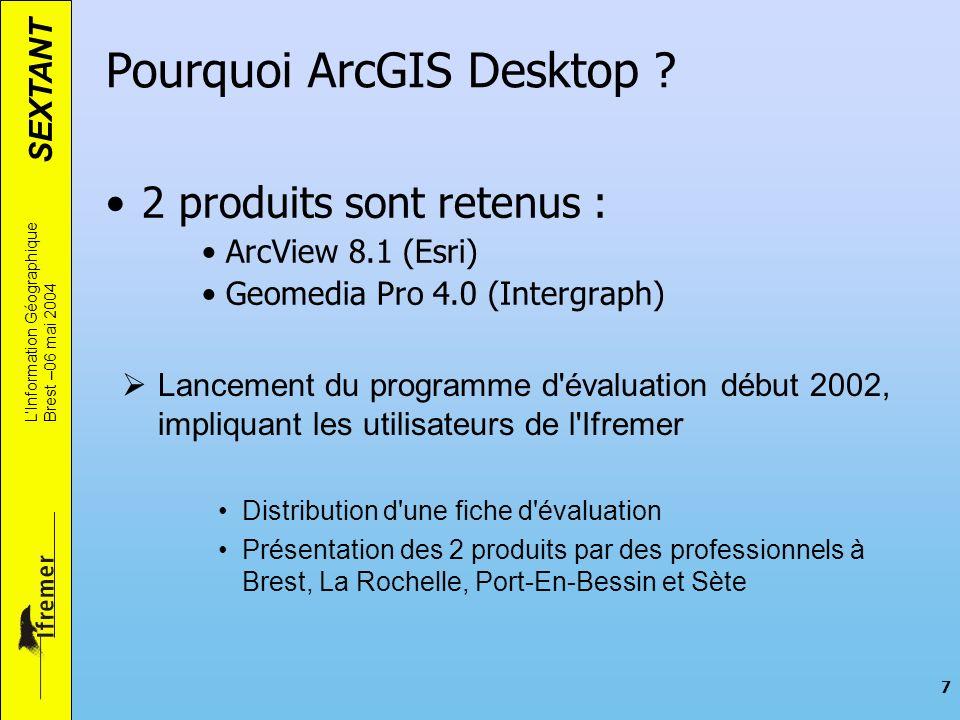 SEXTANT LInformation Géographique Brest –06 mai 2004 7 Pourquoi ArcGIS Desktop ? 2 produits sont retenus : ArcView 8.1 (Esri) Geomedia Pro 4.0 (Interg