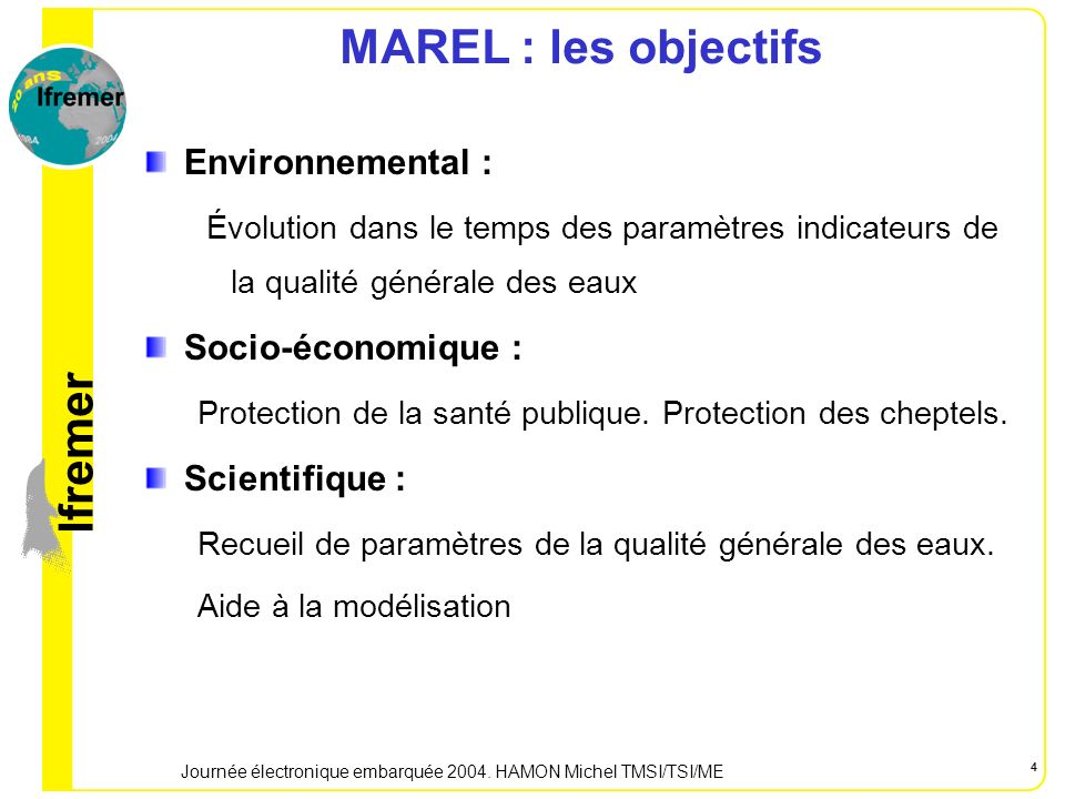 lfremer Journée électronique embarquée 2004. HAMON Michel TMSI/TSI/ME 5 MAREL Baie de Seine