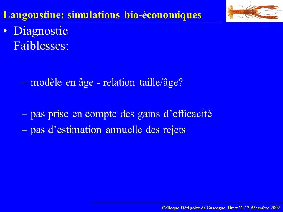 Langoustine: simulations bio-économiques Diagnostic Faiblesses: Colloque Défi golfe de Gascogne. Brest 11-13 décembre 2002 –modèle en âge - relation t