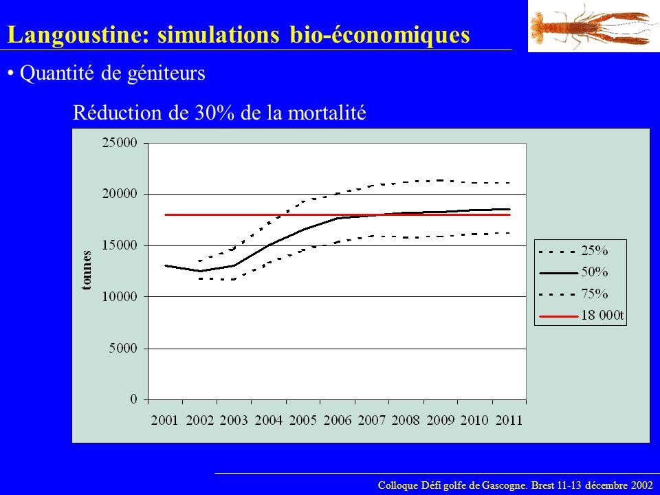 Langoustine: simulations bio-économiques Colloque Défi golfe de Gascogne. Brest 11-13 décembre 2002 Quantité de géniteurs Réduction de 30% de la morta