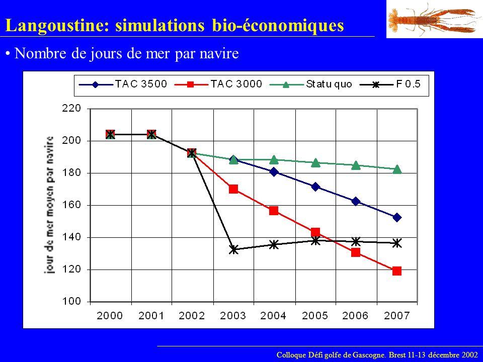Langoustine: simulations bio-économiques Colloque Défi golfe de Gascogne. Brest 11-13 décembre 2002 Nombre de jours de mer par navire