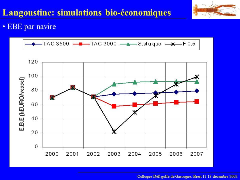 Langoustine: simulations bio-économiques Colloque Défi golfe de Gascogne. Brest 11-13 décembre 2002 EBE par navire