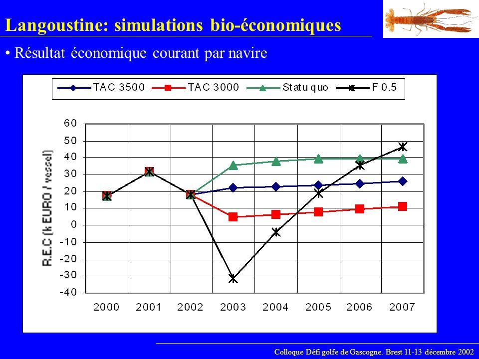 Langoustine: simulations bio-économiques Colloque Défi golfe de Gascogne. Brest 11-13 décembre 2002 Résultat économique courant par navire