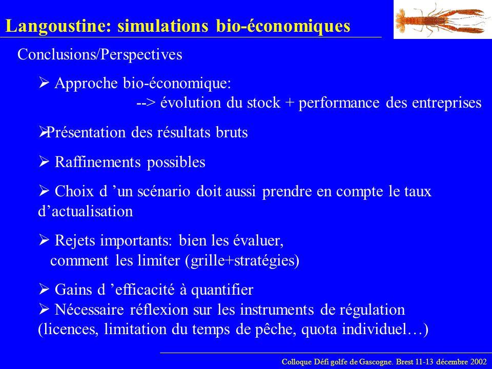 Langoustine: simulations bio-économiques Colloque Défi golfe de Gascogne. Brest 11-13 décembre 2002 Approche bio-économique: --> évolution du stock +