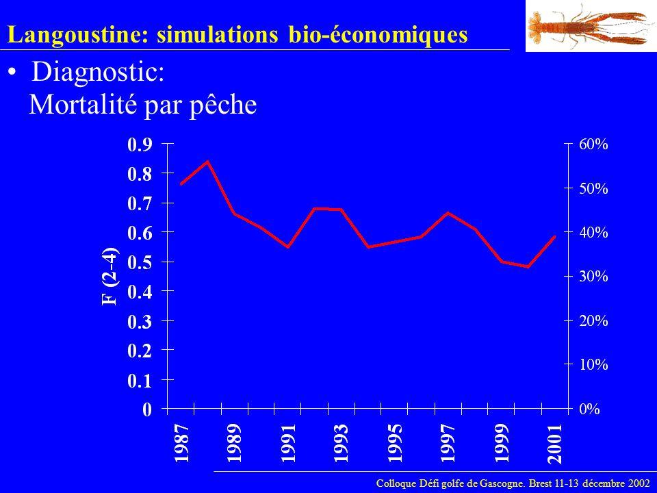 Langoustine: simulations bio-économiques Diagnostic: Colloque Défi golfe de Gascogne. Brest 11-13 décembre 2002 Mortalité par pêche