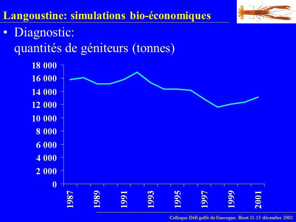Langoustine: simulations bio-économiques Colloque Défi golfe de Gascogne. Brest 11-13 décembre 2002 Diagnostic: quantités de géniteurs (tonnes)